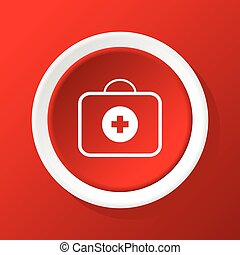 First-aid kit icon on red