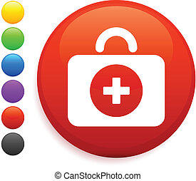 first aid kit icon on round internet button