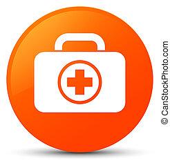 First aid kit icon orange round button