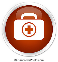 First aid kit icon premium brown round button