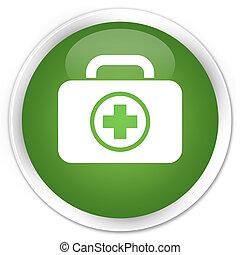 First aid kit icon premium soft green round button
