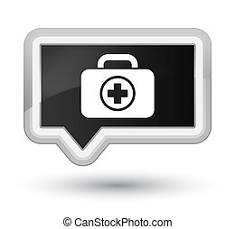 First aid kit icon prime black banner button