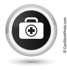 First aid kit icon prime black round button