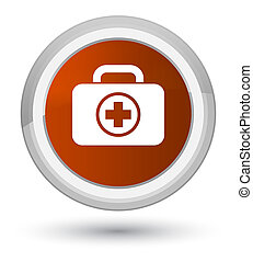 First aid kit icon prime brown round button
