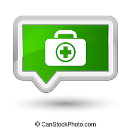 First aid kit icon prime green banner button