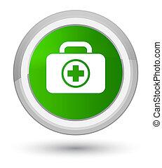 First aid kit icon prime green round button