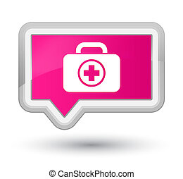 First aid kit icon prime pink banner button
