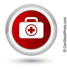 First aid kit icon prime red round button