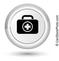 First aid kit icon prime white round button