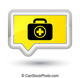 First aid kit icon prime yellow banner button