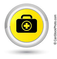 First aid kit icon prime yellow round button