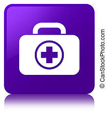 First aid kit icon purple square button