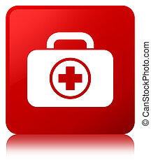 First aid kit icon red square button