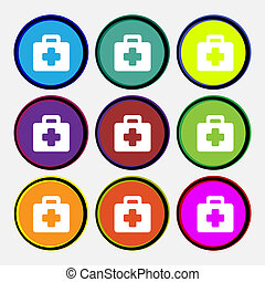 first aid kit icon sign. Nine multi colored round buttons.