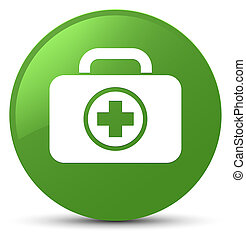 First aid kit icon soft green round button