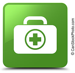 First aid kit icon soft green square button