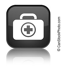 First aid kit icon special black square button