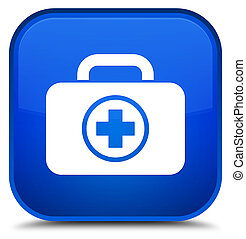 First aid kit icon special blue square button