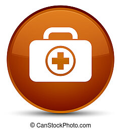 First aid kit icon special brown round button