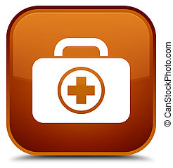 First aid kit icon special brown square button