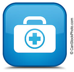 First aid kit icon special cyan blue square button