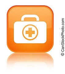 First aid kit icon special orange square button