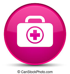 First aid kit icon special pink round button