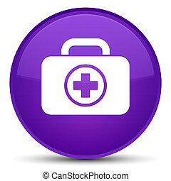 First aid kit icon special purple round button