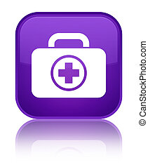 First aid kit icon special purple square button