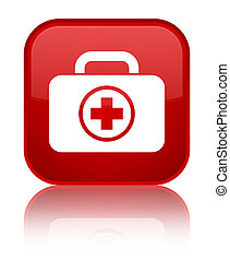 First aid kit icon special red square button