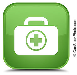 First aid kit icon special soft green square button