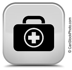 First aid kit icon special white square button