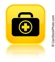 First aid kit icon special yellow square button