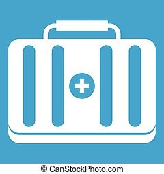 First aid kit icon white