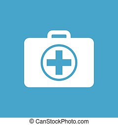 First aid kit icon, white