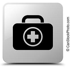 First aid kit icon white square button