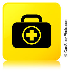 First aid kit icon yellow square button