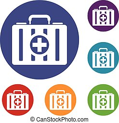 First aid kit icons set
