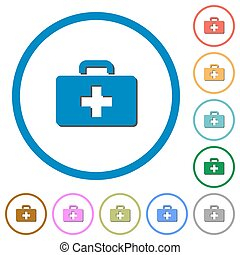 First aid kit icons with shadows and outlines