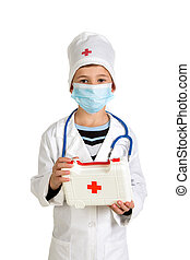 First-aid kit in the doctor's hands