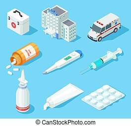 First aid kit. Medical pharmacy oral spray, medicines and pills. Ambulance car and hospital building isometric vector isolated set