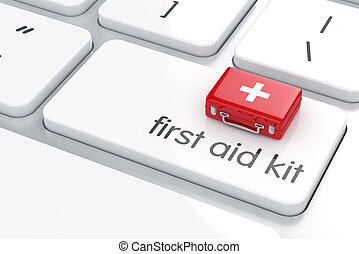 First aid kit on the keyboard - 3d render of first aid kit ...