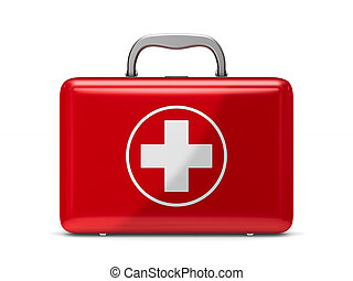 First aid kit on white background. Isolated 3D illustration
