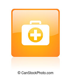 first aid kit orange square glossy web icon