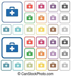 First aid kit outlined flat color icons