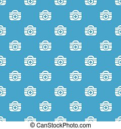 First aid kit pattern vector seamless blue