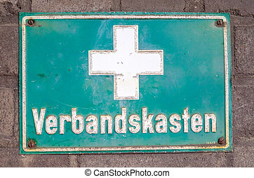 First aid kit Plaque - Old signboard rectangular green with...