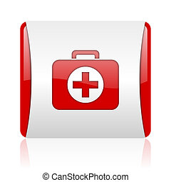 first aid kit red and white square web glossy icon