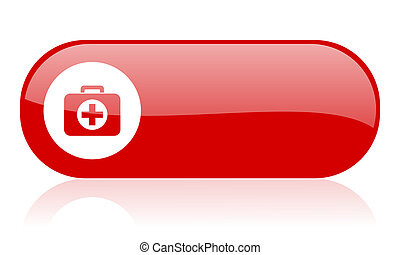 first aid kit red web glossy icon