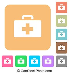 First aid kit rounded square flat icons